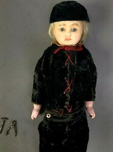"Antique 1800s 16"" Poured Wax Boy Doll - Original Velvet Costume Probably English"
