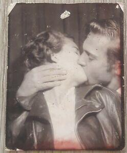 Vintage Photobooth Guy Kissing Girl in Leather Jacket Teenage Couple Snapshot