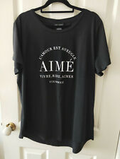 City Chic Black and White Essential Print T-Shirt Top Size S
