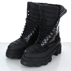 S37 $475 Women's Sz 39 M Ganni Combat Boot In Black