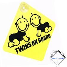 TWINS ON BOARD - yellow / black gloss car window sign with suction cups (02)