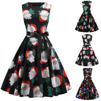 Women Vintage Evening Party Christmas Print Sleeveless Belt Corset Swing Dress P
