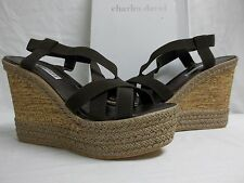 Charles David Size 9.5 M Fare Brown Elastic Open Toe Wedges New Womens Shoes