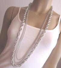 Damen Hals Kette Modekette Bettelkette Modeschmuck lang Silber Mehrreihig K11987