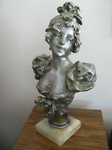 Antique Victorian Art Nouveau Woman Collar Bust Cast Metal Spelter Statue 11 1/2