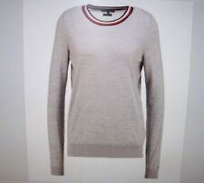 WOMENS JUMPER SIZE XS TOMMY HILFIGER GREY TIPPING CREW LUXURY WOOL IDEAL GIFT