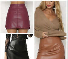 Coffee PU Leather PencilSkirt Bodycon High Waist Club Party Mini Skirt