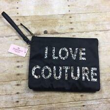 """8634 Juicy Couture """"i Love Couture"""" Leopard Sequins Wristlet Women's Black"""