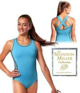 NWT SM1624 LIT Fearless Alpha Factor Shannon Miller X back gymnastic leotard CL