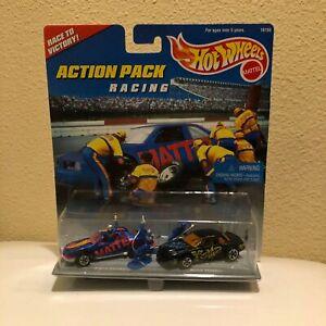 Hot Wheels Action Pack 2 Car Racing T-Bird Stocker Blue/Buick Stocker Black T13