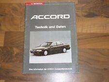 Honda ACCORD 1990 Technik und Daten Kundendienstschule WERKSTATT HANDBUCH