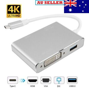 4 IN 1 USB 3.1 USB Type-C USB-C to DVI HDMI VGA Display Adapter Cable Macbook AU