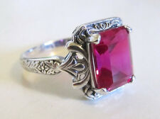 Ruby Sterling Silver Engraved Ring Size 9 Vintage Art Deco Style
