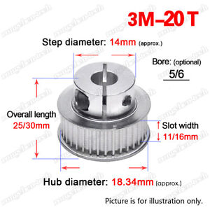 3M20T Timing Belt Pulley 5/6mm Clamp Bore Wheel 3mm Pitch for 10/15mm Width Belt
