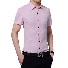 New Men's Luxury Stylish Short Sleeve Casual Dress Slim Shirts Anti Wrinkle D124