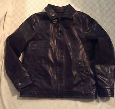 New Tommy Hilfiger Men's Motorcycle Jacket Black Faux Leather Coat M