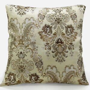 vc05a Turftan Silver Flower on Beige Grey Thick Cotton Blend Cushion Cover/Case