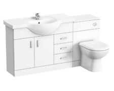 Bathroom Gloss White Vanity Unit Sink & Toilet Ceramic Basin & Btw Pan 1500mm uk