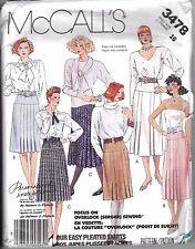 Vtg Mccall 1980 80's Pattern 3478 Skirt Knife Pleat Yoke Drop Waist 16