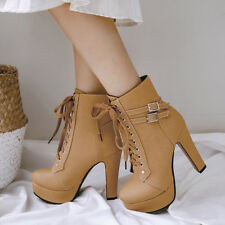 Platform Ankle Boots For Women Lace Up Chunky High Heels Winter Booties US 6