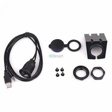 Car 3.5mm AUX In USB Input Socket Extension Cable Dashboard Flush Mount  +Cover