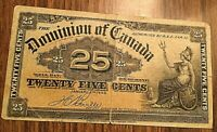 1900 DOMINION OF CANADA 25 CENTS BANK NOTE