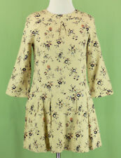 343 NWT Bonpoint girl beige floral dress Wool pleated NEW Size 12