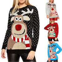 Womens Ugly Christmas Deer Warm Knitted Long Sleeve Sweater Jumper Top Blouse