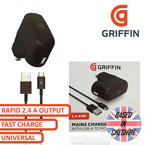 Griffin Micro USB Mains Charger Fast Charge 2.4 Amp Plug Universal Rapid Charge