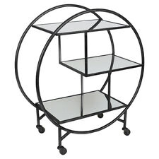 New Black Bar Drink Trolley made out of iron with mirror shelves
