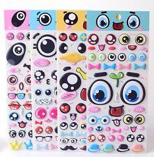 Fun Big Eyes Puffy Stickers, Kawaii Sticker Cute Face Tongue Eyes Scrapbooking