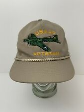 USAAF Army Air Force Veteran Hat Bomber Plane Embroidered Cap Leather Strapback