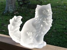 "Genuine Lead FROSTED CRYSTAL Long Hair CAT FIGURINE 7"" ~ Germany"