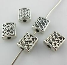 30/60/500pcs Tibetan Silver Charms Rectangle Crafts Spacer Beads Beading Making