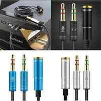 Stereo 3.5mm Audio Mic Y Splitter Cable Headphone Adapter Female to 2 Male New
