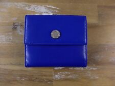 BULGARI Roma blue leather trifold ladies wallet authentic - New in Box