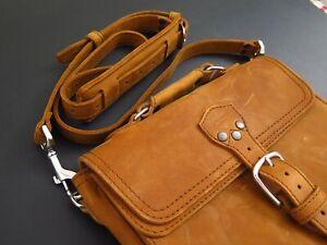 "Saddleback Leather 11""x9""x3"" MULTI POCKET CROSSBODY SHOULDER BAG Tobacco"