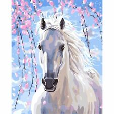 Flower Horse Painting By Numbers Acrylic Canvas Pictures Wall Art Garden Decors