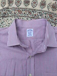 "BROOKS BROTHERS - Burgundy-White - Check - Button Cuff - Shirt - 17.5"" Collar"