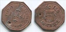"T510b Terre Haute IN, Knights Of Columbus No. 541, 5c Trade, octagonal token 1"""
