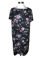TAHARI Plus Sz 16W Shift Dress Black Purple Blue Floral Short Sleeve Knee Length