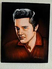 ELVIS PRESLEY Red Shirt Handsome Oil Painting in Dark Velvet 16x20