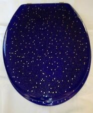Blue Resin with Gold Stars Toilet Seat with Chrome Hinge