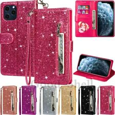For iPhone 12 Mini 11 Pro Max XR 8 7 6s Glitter Leather Zipper Wallet Case Cover