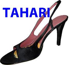 "New TAHARI Sexy Slingback Heels Pumps Shoes  BLACK SATIN ""Bali"" Open Toe 10M"