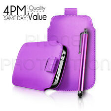 LEATHER PULL TAB SKIN CASE COVER POUCH AND STYLUS FOR VARIOUS BLACKBERRY PHONES