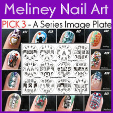 PICK 3 - A Series Image Plate of Your Choice for Stamping Nail art Designs XL