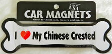 Dog Magnetic Car Decal - Bone Shaped - I Love My Chinese Crested - Made in Usa