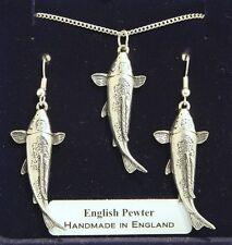 Koi Carp Fish Necklace and Earrings Set, in Fine English Pewter, Gift Boxed (Ts)