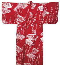 "Women Yukata Japanese Kimono Kanji 58"" #L EK314"